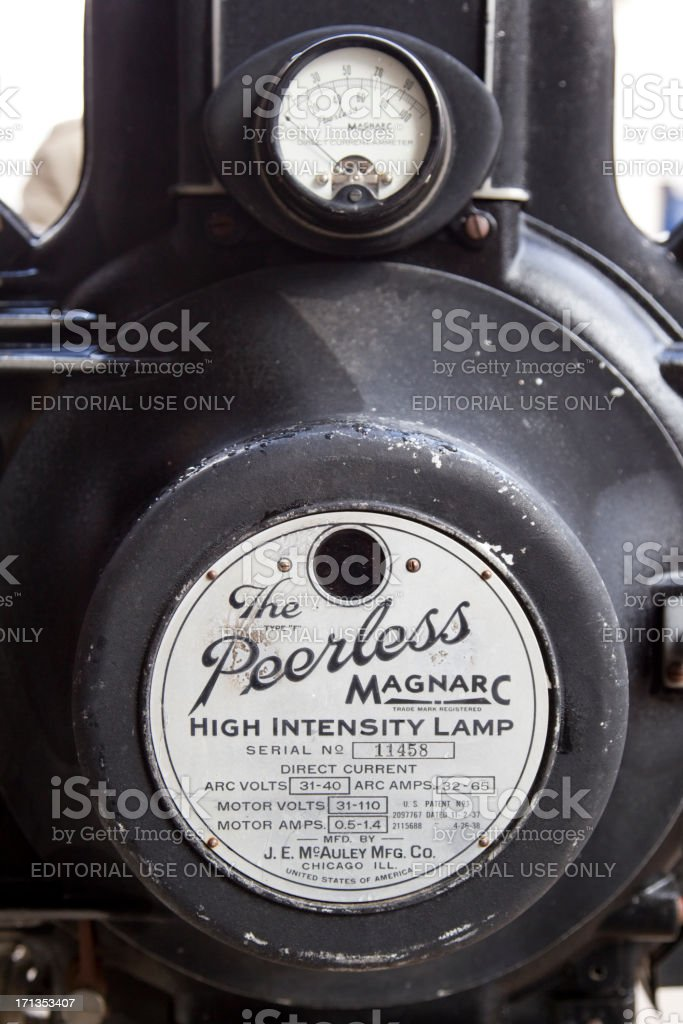 Peerless Magnarc Movie Projector stock photo