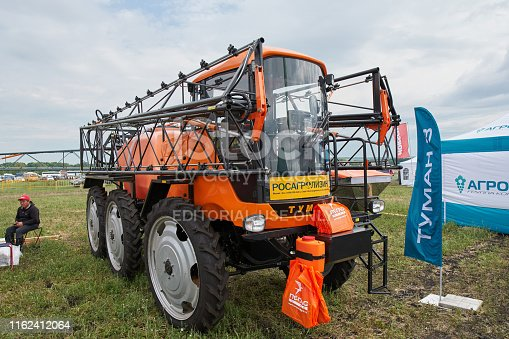 Goryainovka, Mordovia, Russia - June 28, 2019: The Pegas TUMAN 3 self-propelled sprayer at the public event Russian Plowing Championship.