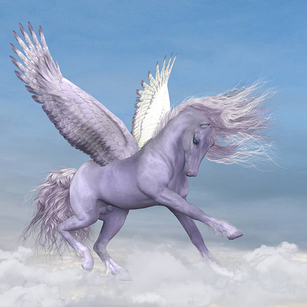 pegasus among the clouds - pegasus stock photos and pictures
