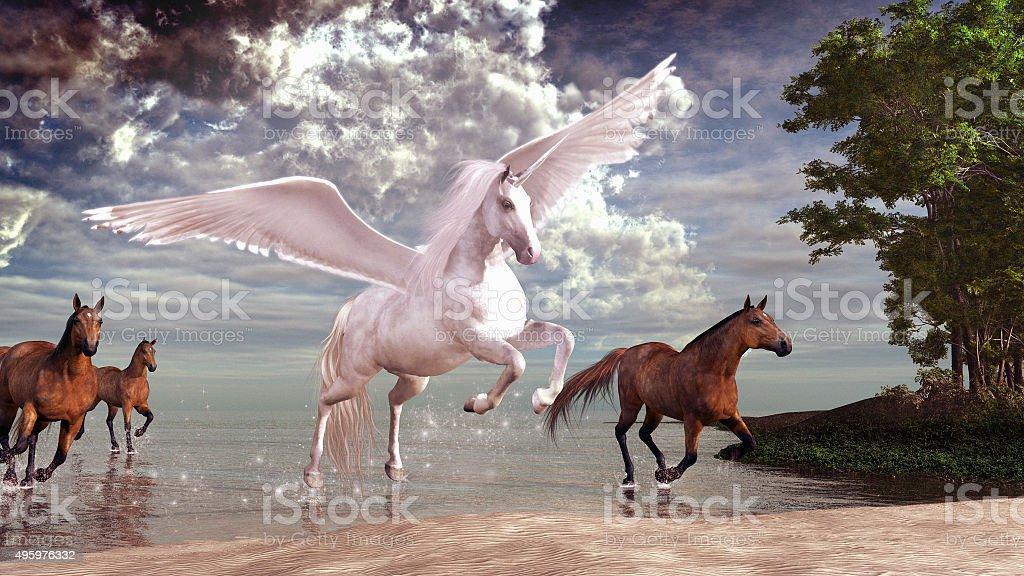 Pegasus and horses stock photo