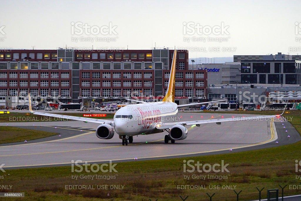 Pegasus Asia airplane on Airport stock photo