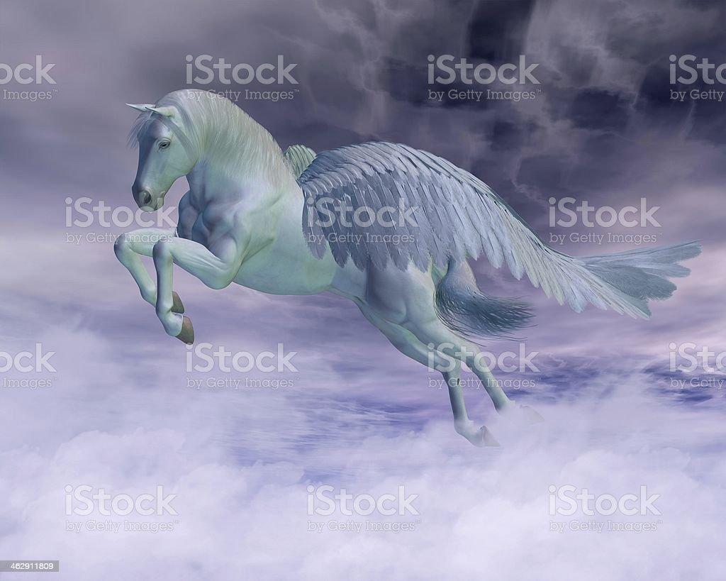 Pegasus Galloping through Storm Clouds stock photo