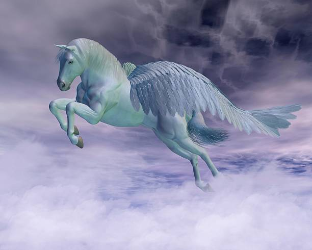 pegasus galloping through storm clouds - pegasus stock photos and pictures