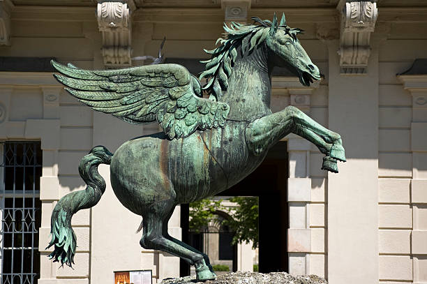 pegasus in mirabell garden - pegasus stock photos and pictures