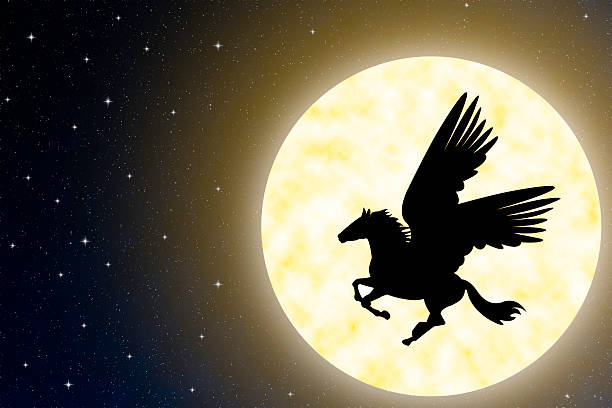 pegasus in the sky with large moon. - pegasus stock photos and pictures