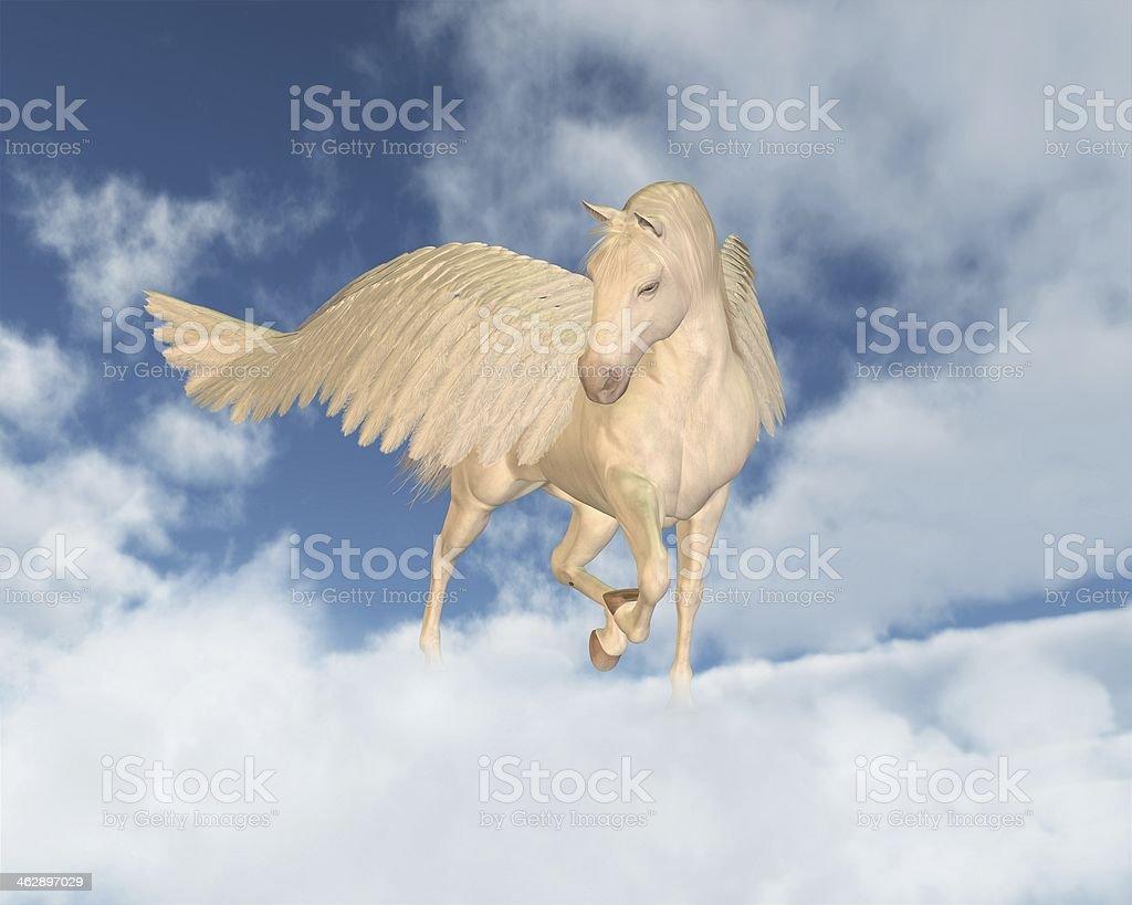 Pegasus Looking Down Through Clouds stock photo