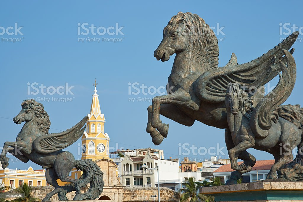 Pegasus Statues in Cartagena stock photo