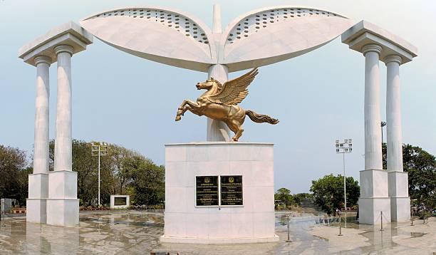 Pegasus Stela at MGR memorial, Chennai, India stock photo