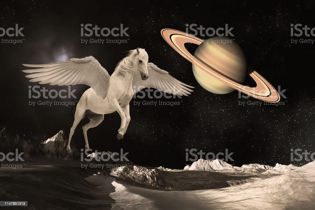 Pegasus Winged Legendary White Horse Flying With Spread Wings In The Outer Space Or Universe Planets Stock Photo Download Image Now Istock