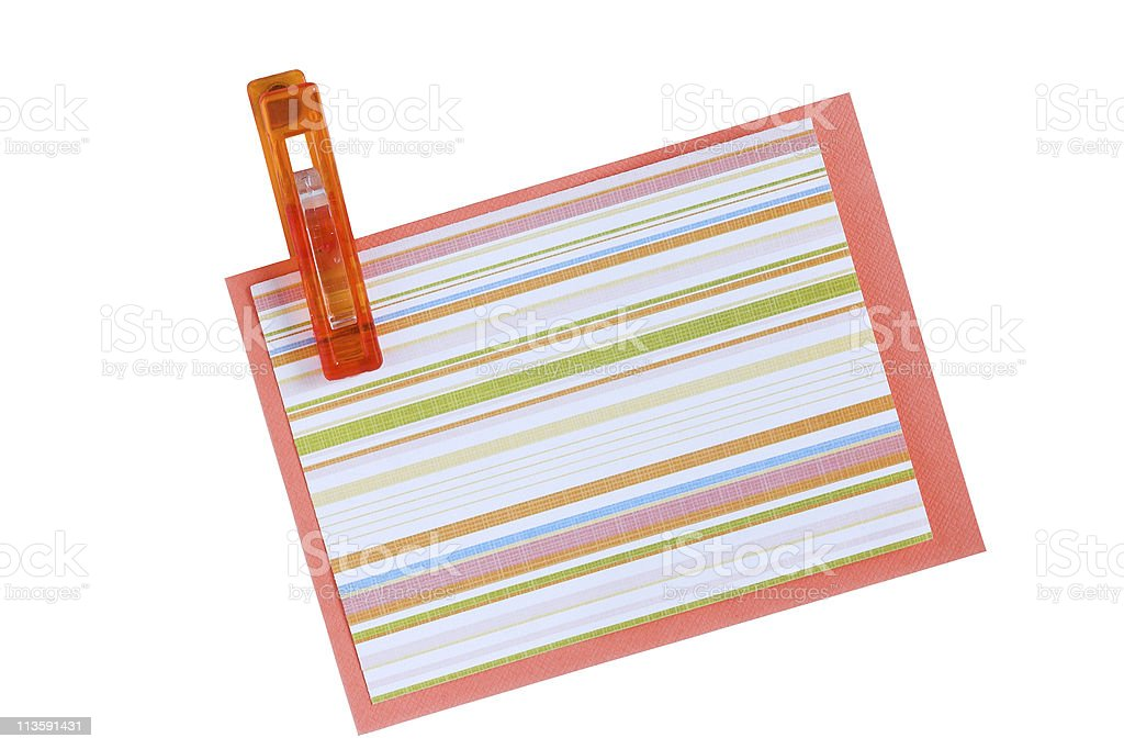 Pegged note paper stock photo