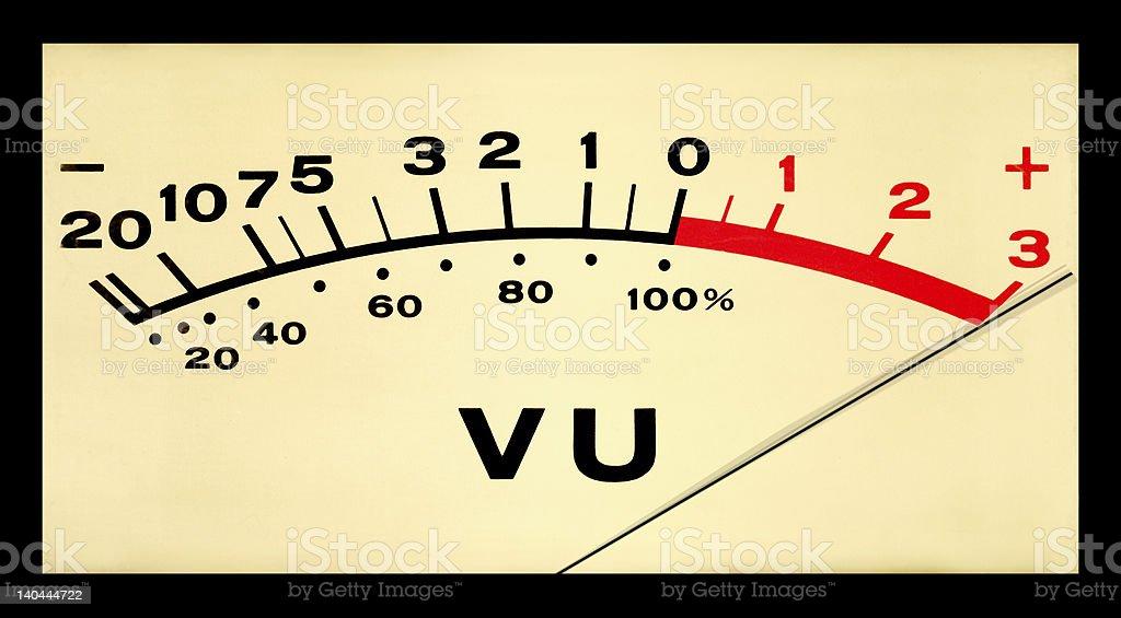 Pegged VU Meter stock photo