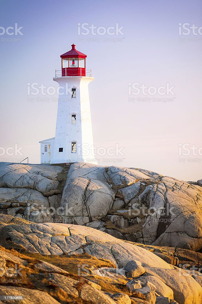 Peggys Cove Lighthouse in Nova Scotia royalty-free stock photo
