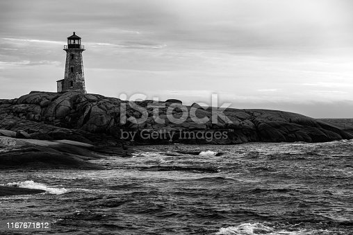 Peggy's Cove Lighthouse in black and white.