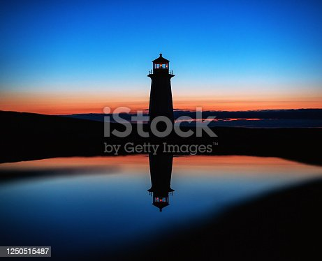 Peggy's Cove lighthouse is reflected in a still puddle in deep twilight.