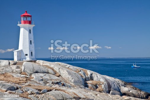 Peggy's Cove lighthouse, one of the major tourism destinations in Nova Scotia, Canada.  Lobster boat gathering traps in the background.