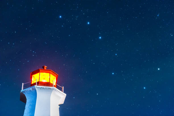 Peggy's Cove lighthouse stars A low angle of the Peggy's Cove Lighthouse set against against a starry night sky with the big dipper in plain view. big dipper constellation stock pictures, royalty-free photos & images
