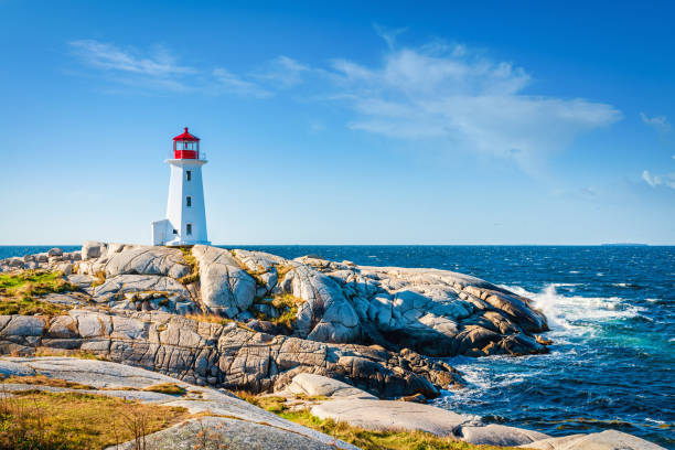 Peggy's Cove Lighthouse under Summer Sky Nova Scotia Canada Peggy's Cove Lighthouse under blue summer sky. Peggy's Cove, Nova Scotia, Canada. Day and Night Series. rocky coastline stock pictures, royalty-free photos & images