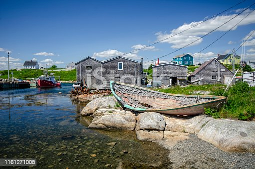 A beautiful tranquil summer day at Peggys Cove, Nova Scotia, Canada. The rugged beauty of Peggys Cove is one of Nova Scotia's major tourist attractions.