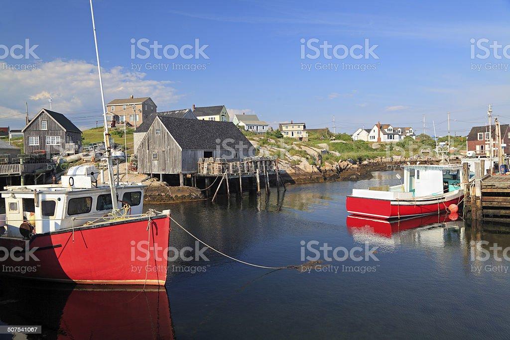 Peggy's Cove village and fisherman boats, Nova Scotia, Canada stock photo