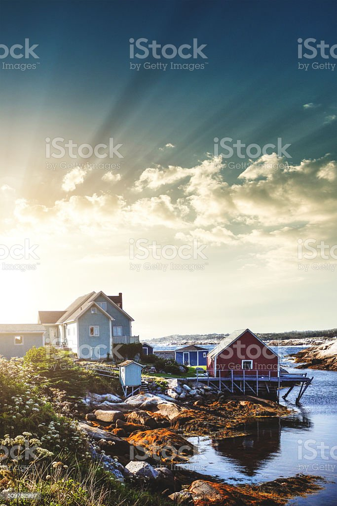 Peggy's Cove village in Nova Scotia stock photo