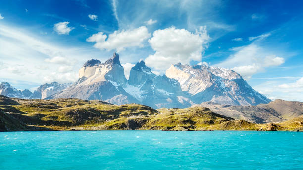 Pehoe Lake and Los Cuernos, Chile. stock photo