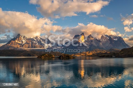 istock Pehoe Lake Reflection and Cuernos Peaks in the Morning, Torres del Paine National Park, Chile 1280867481