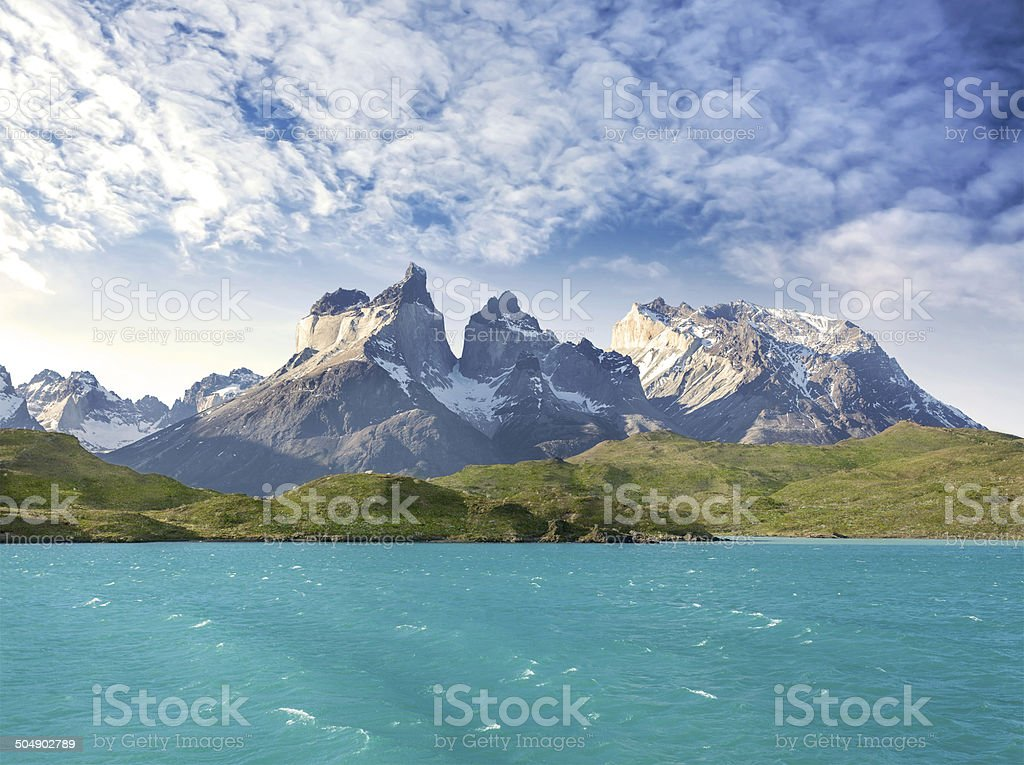 Pehoe mountain lake and Los Cuernos, Chile stock photo