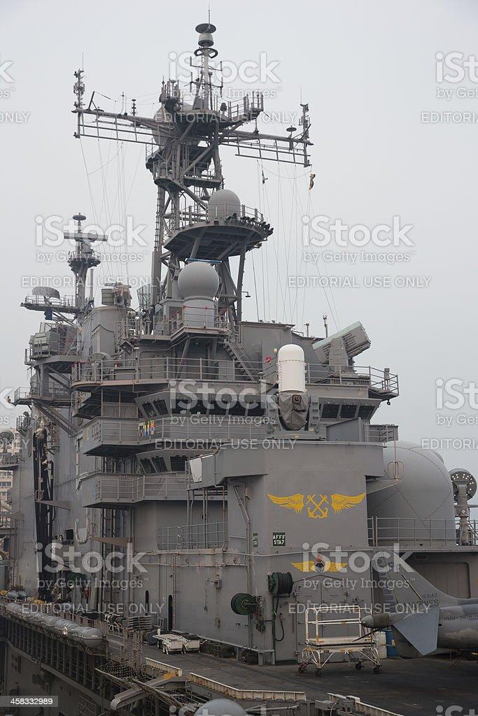 USS Peleliu in Hong Kong stock photo