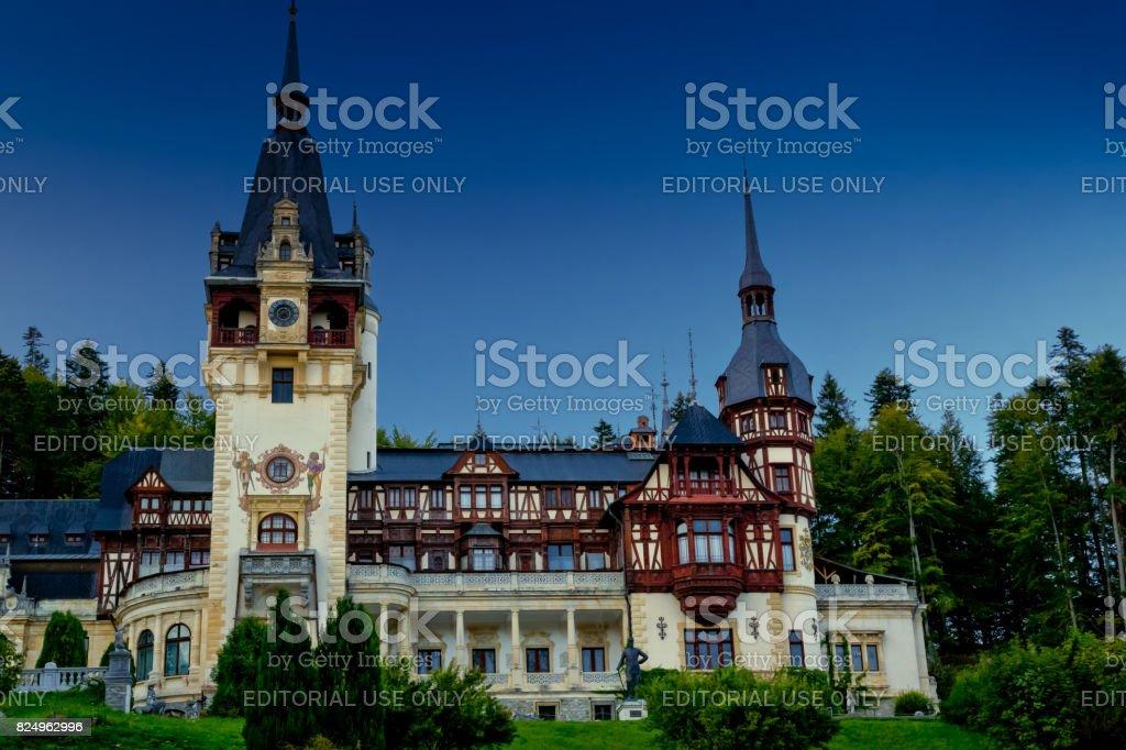Peles Castle in Sinaia, Romania stock photo