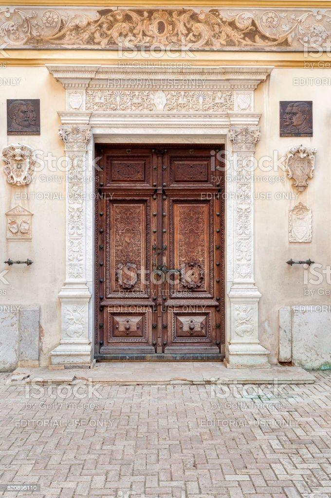Peles Castle - old door stock photo