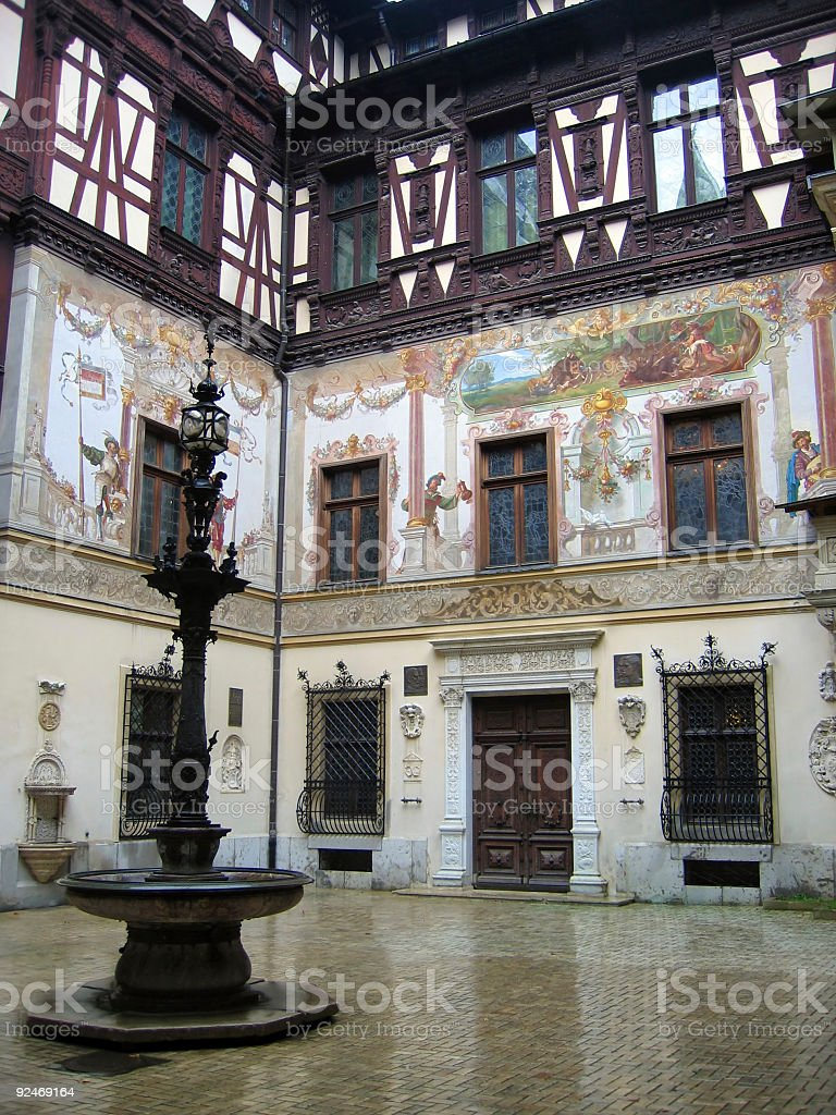 Peles Castle – Romania – Interior courtyard stock photo