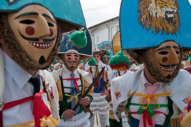 Peliqueiros- Laza Carnival stock photo