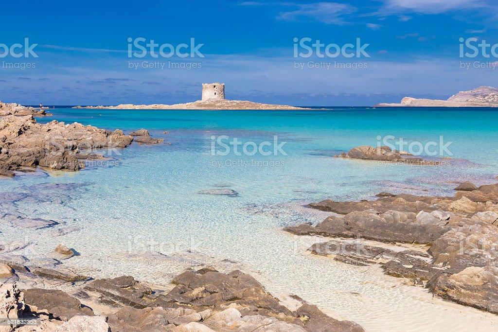 Pelosa beach, Sardinien, Italien. Lizenzfreies stock-foto
