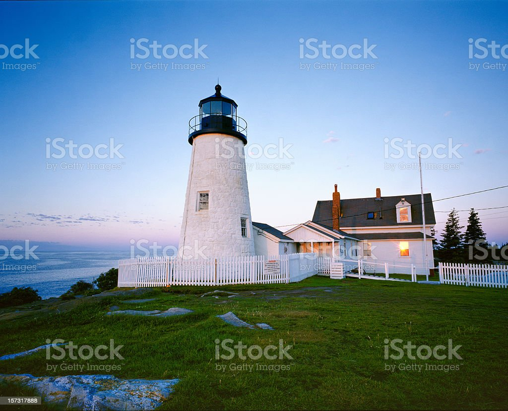 Pemaquid Point Lighthouse at Sunrise stock photo