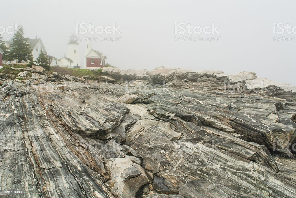 Pemaquid Point Lighthouse in Fog royalty-free stock photo
