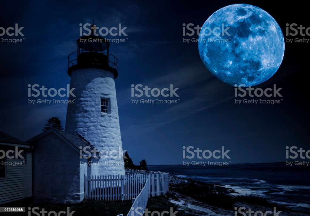 Pemaquid Point Lighthouse in moonlight stock photo