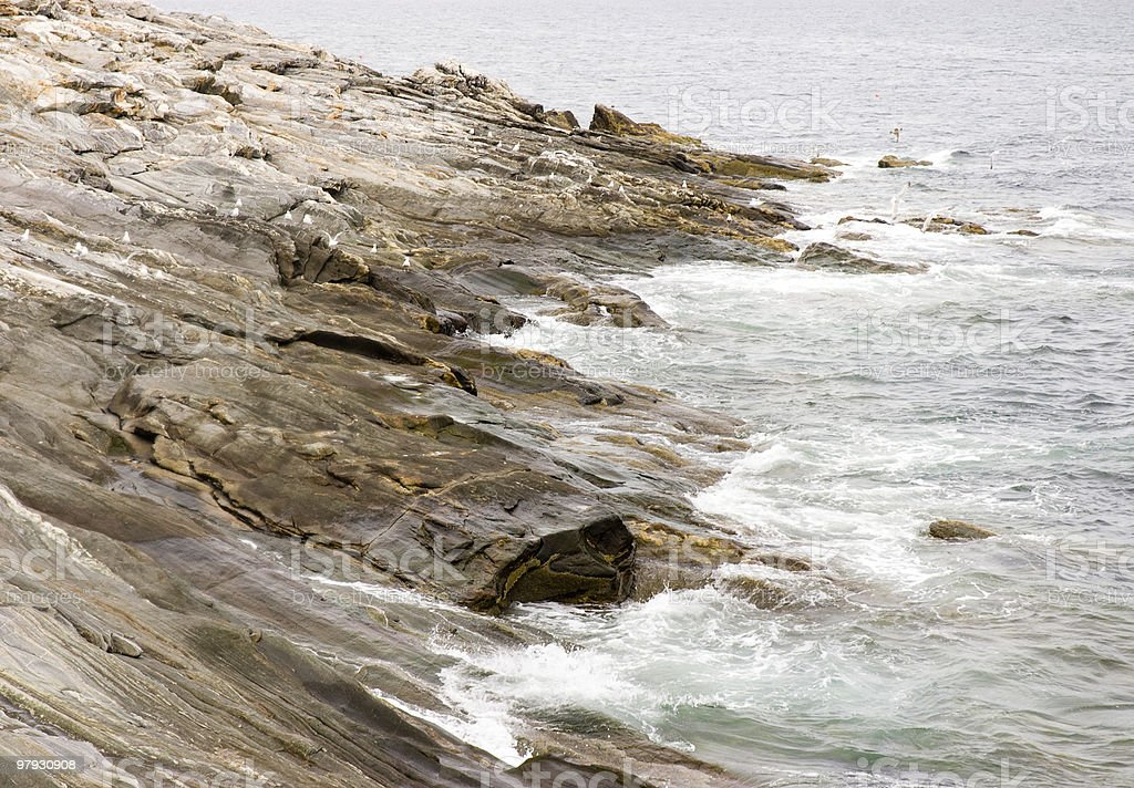 Pemaquid Point rocky coastline royalty-free stock photo