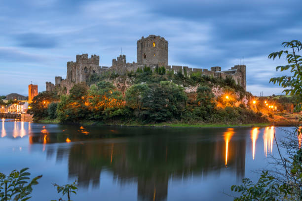 Pembroke Castle in South Wales stock photo