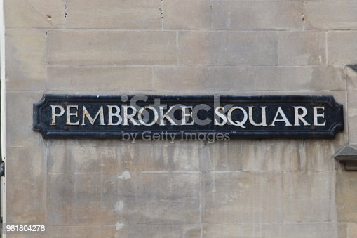 A street sign for Pembroke Street in the historic city of Oxford, Oxfordshire, UK