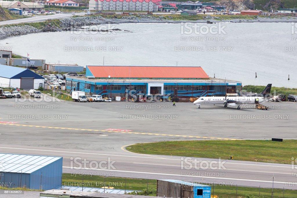 A Pen Air airplane at Tom Madsen Airport in Dutch Harbor, Unalaska, Alaska. stock photo