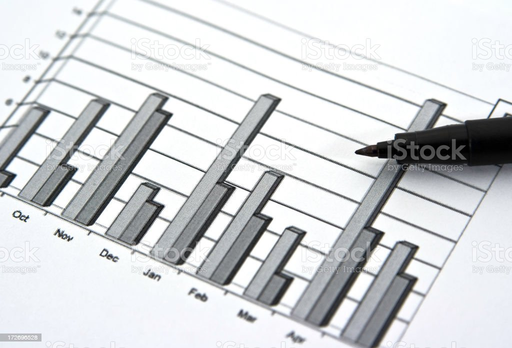 Pen and Bar Graph Displaying Yearly Sales Figures stock photo