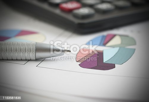istock Pen and Calculator resting on Business Charts 1153581835