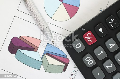 851244800istockphoto Pen and Calculator resting on Business Charts 1153996409