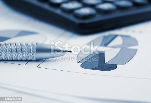 851244800istockphoto Pen and Calculator resting on Business Charts 1156036786