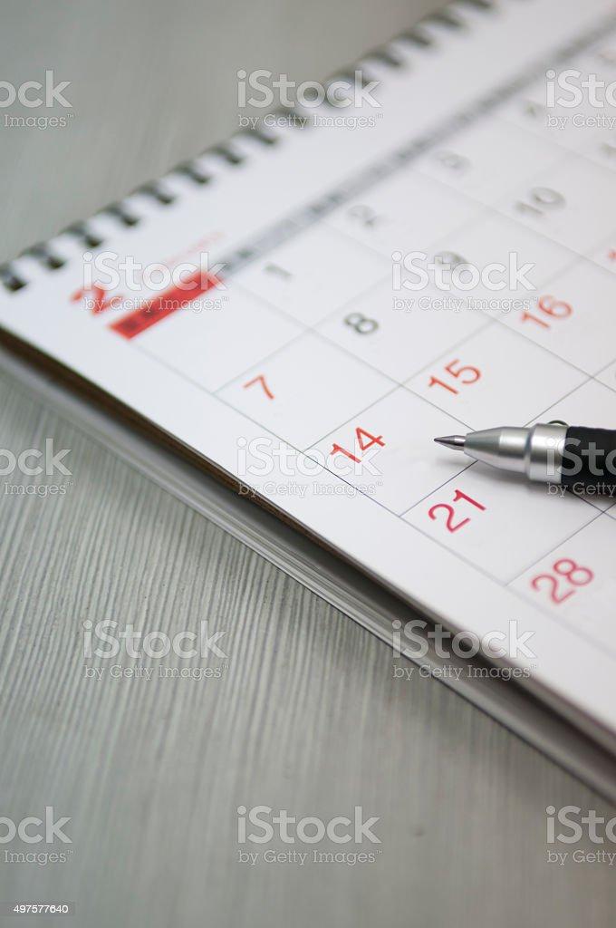 pen and calendar stock photo