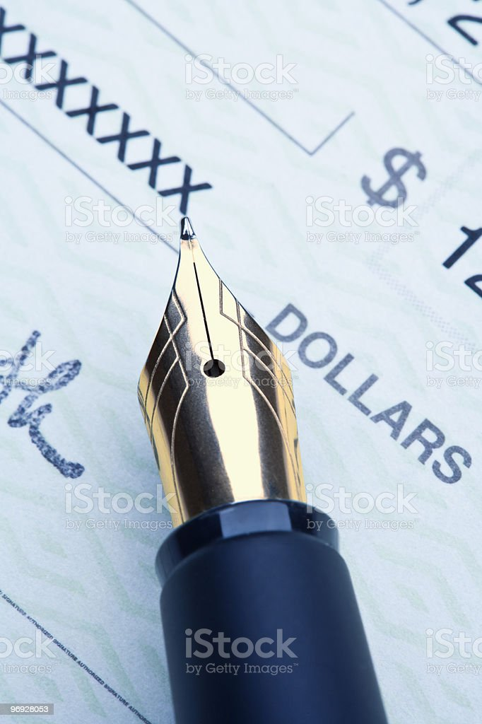 pen and check royalty-free stock photo