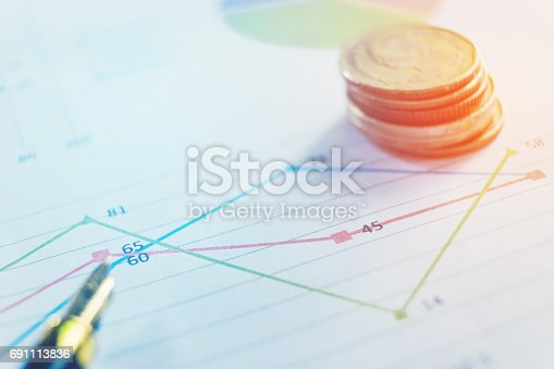 864278180istockphoto Pen and coin on the business paper. Report chart 691113836