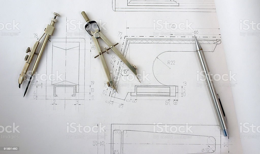 Pen and compasses royalty-free stock photo
