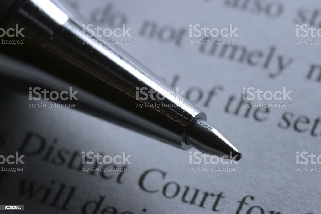 Pen and Court Document stock photo