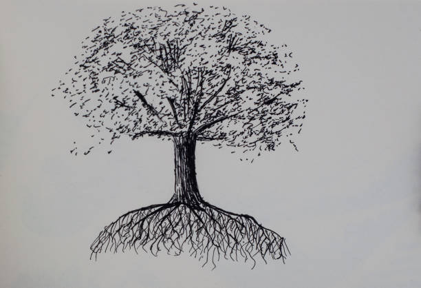 Pen and Ink Tree stock photo